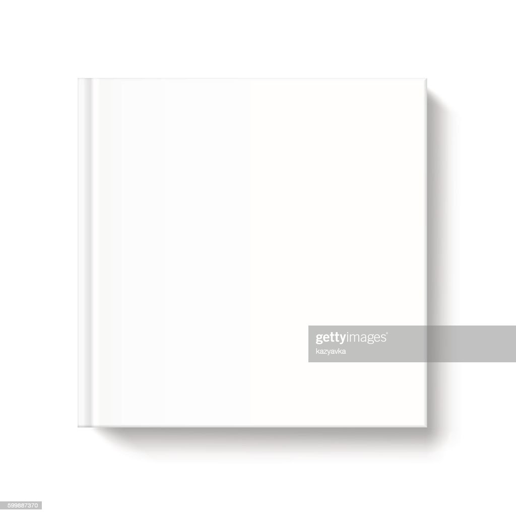 Blank square book cover template on white background