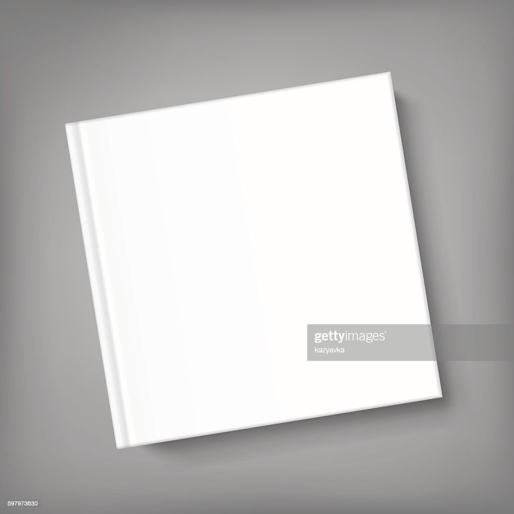 Blank square cover book template on grey background