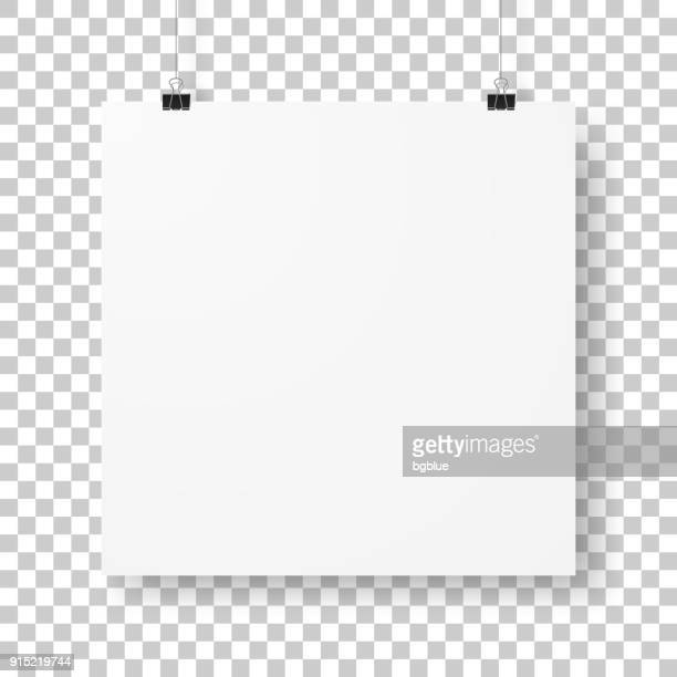 blank square sheet isolated on blank background - binder clip stock illustrations