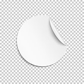 Blank sticker, empty promotional label, white round circle tag with curled corner. Vector illustration.