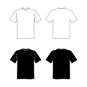 blank t shirt template. black and white vector image. flat illustration. front and back view mockup