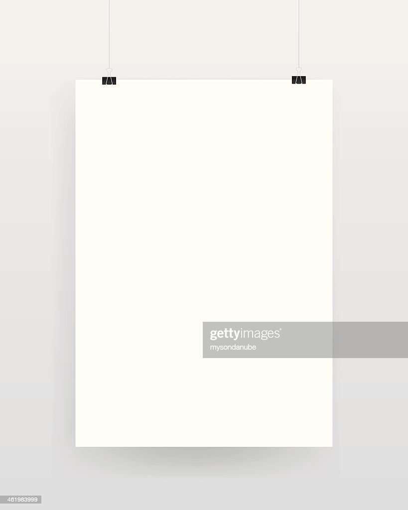 Blank template of a paper sheet on wall