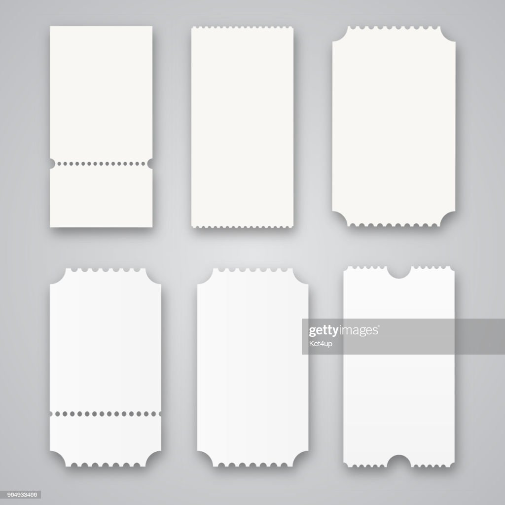 Blank tickets isolated on grey background. Vector illustration
