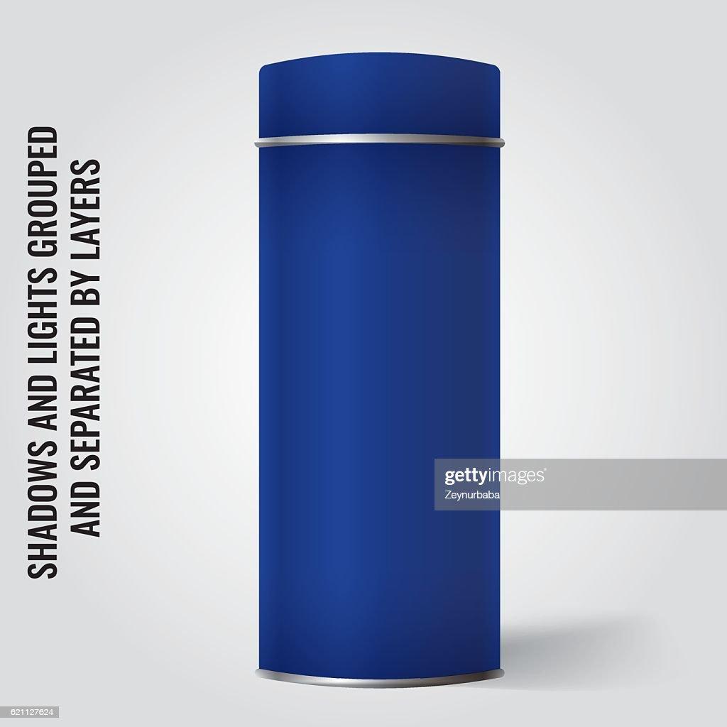 blank tin can packaging mockup tea coffee gift box vector art