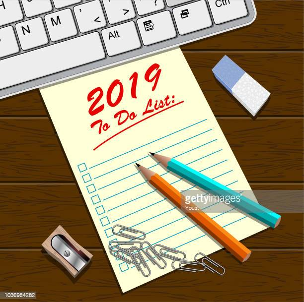 2019 blank to do list with pencils, sharpener and eraser - to do list stock illustrations