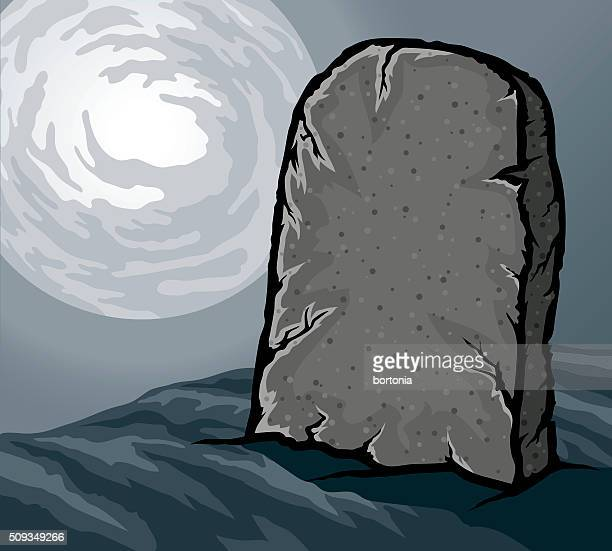 blank tombstone lit by moonlight - tombstone stock illustrations
