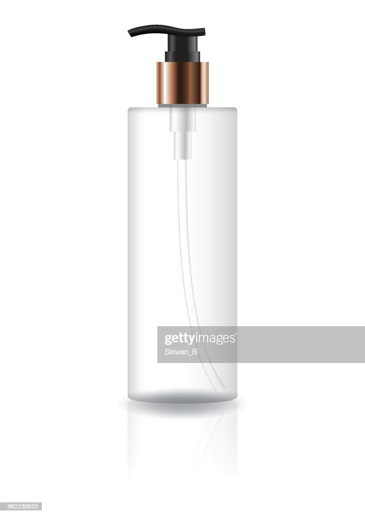 Blank transparent cosmetic cylinder bottle with black pump head and copper neck
