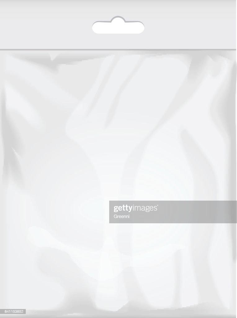 Plantilla En Blanco Bolsa De Plástico Transparente Empaque Blanco ...