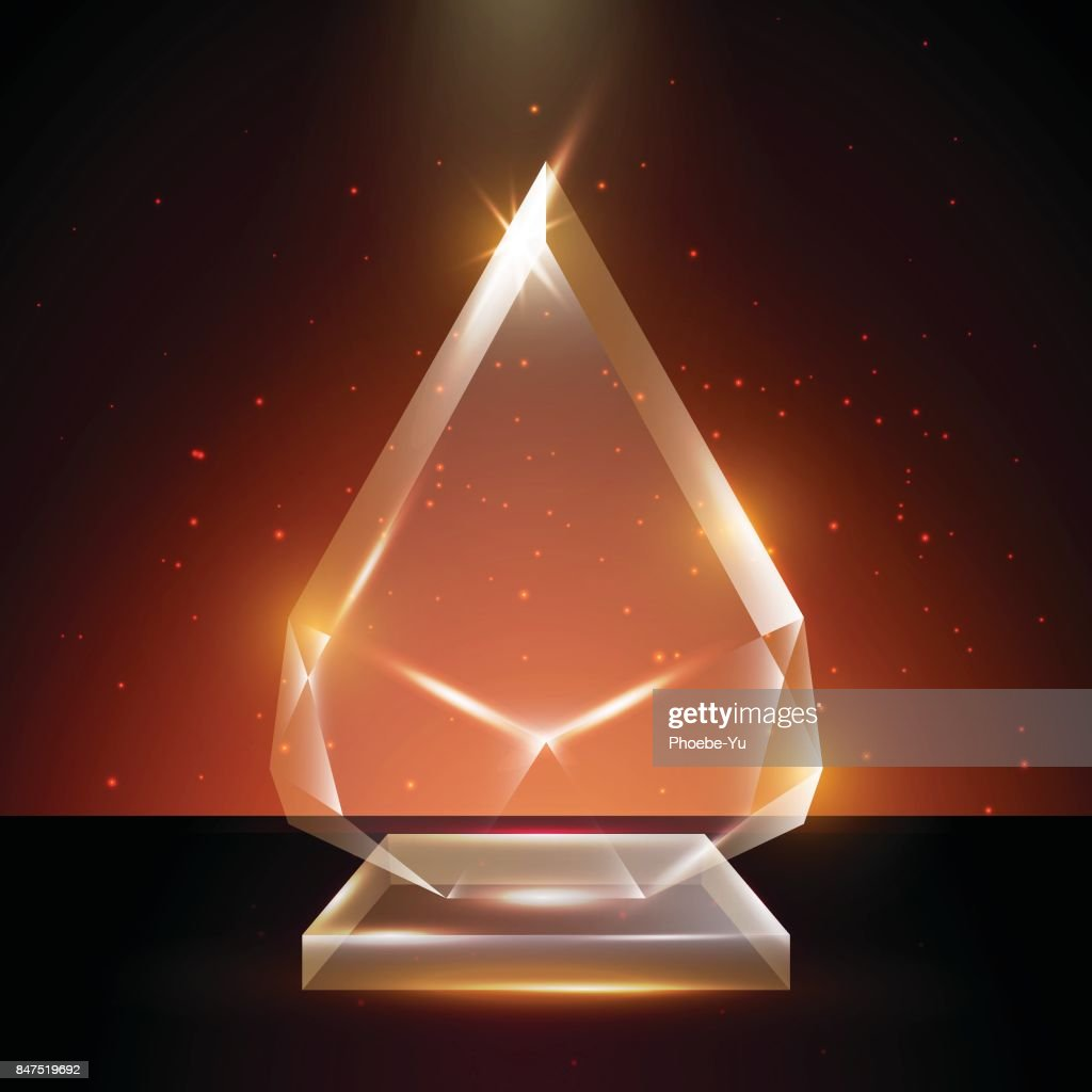 Blank Transparent Vector Acrylic Glass Trophy Award Template