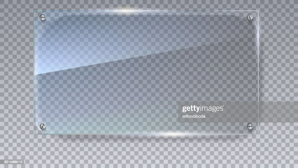 Blank, transparent vector glass plate. Vector template, mock-up banner with copy-space. Photo realistic texture with highlights and glow on the transparent. See through the plastic, 3D illustration