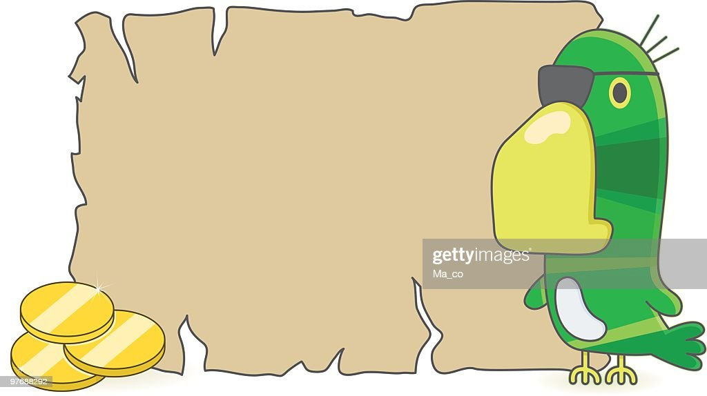 Blank Treasure Map And Pirate Parrot With Gold Coins Vector Art