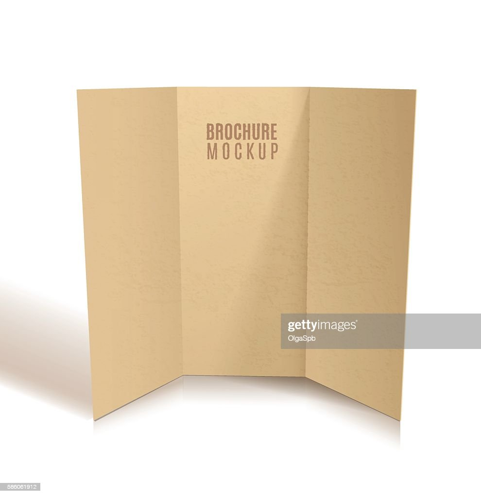 Blank tri-fold brochure design isolated.