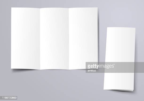 blank trifold brochure - folded stock illustrations