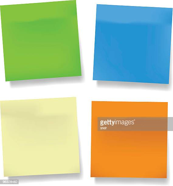 blank vector sticky notes - post it stock illustrations, clip art, cartoons, & icons