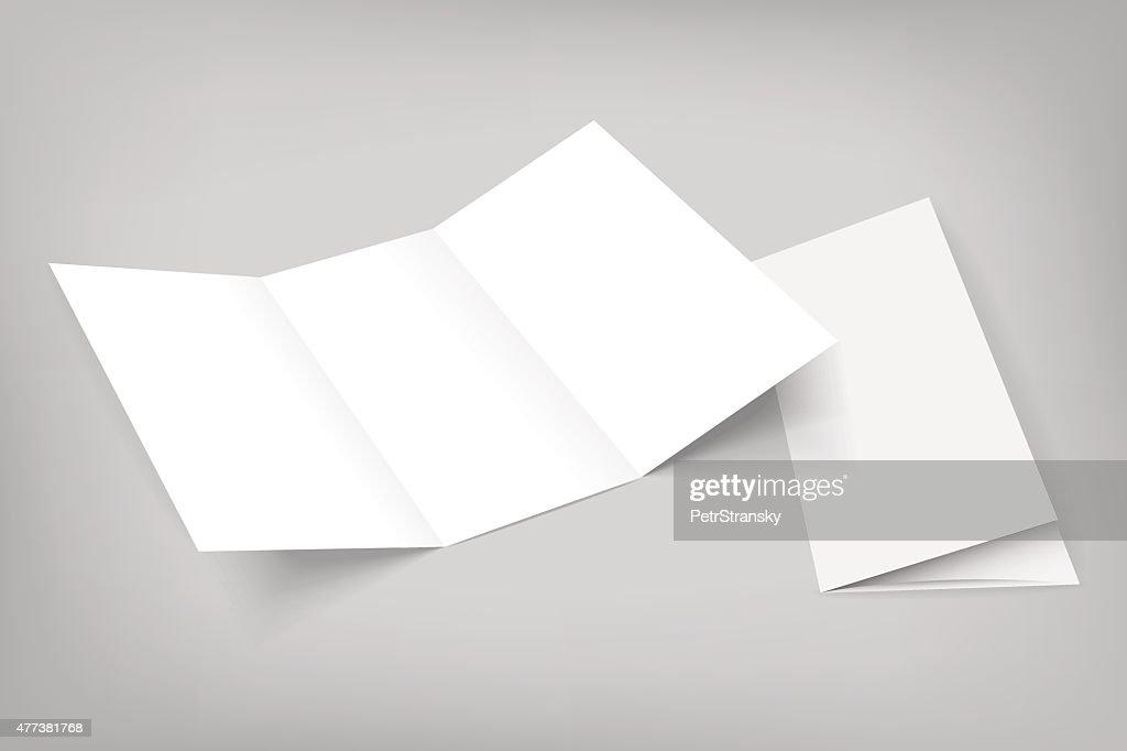 blank vector tri fold mockup on gray