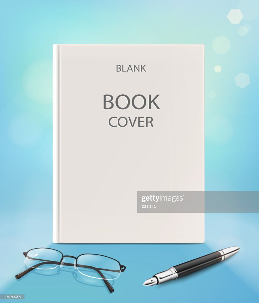 Blank vertical book cover, on a blue backgraund.