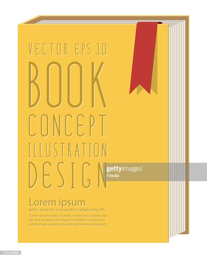 Blank vertical book cover template standing on yellow surface fl