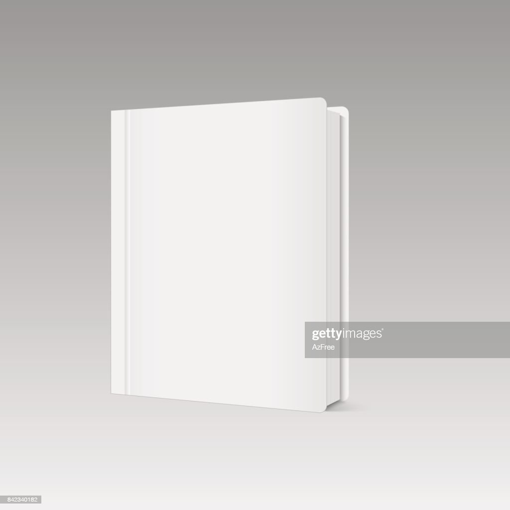 Blank vertical book cover template with pages in front side standing. Vector.