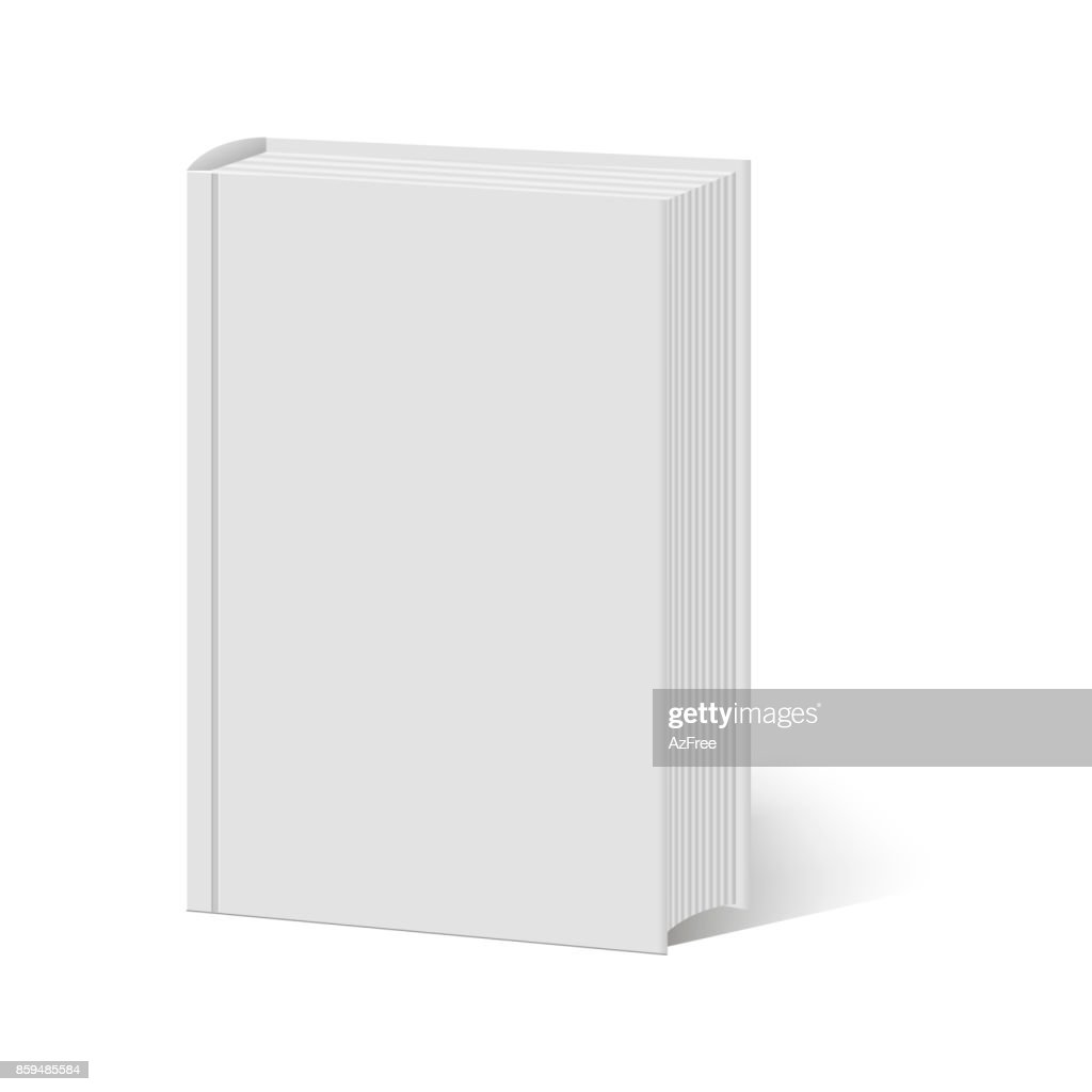 Blank vertical book with hard cover template standing. Vector illustration.