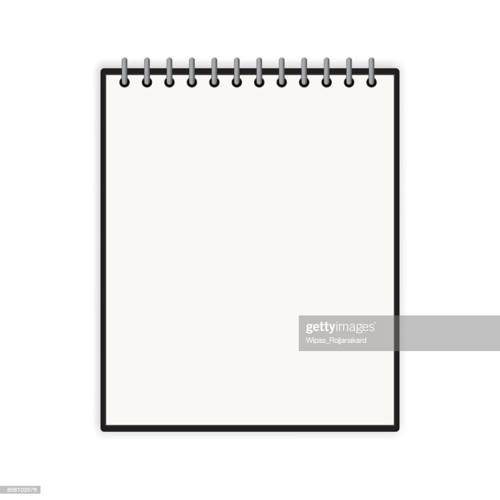 Blank vertical notebook cover template with pages in front side standing on white surface Perspective view. Vector illustration.