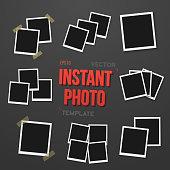 Blank Vintage Instant Photo Frame Mockup Set. Vector Instant Photo. Photorealistic Vector EPS10 Retro Instant Photo Frame Mockup