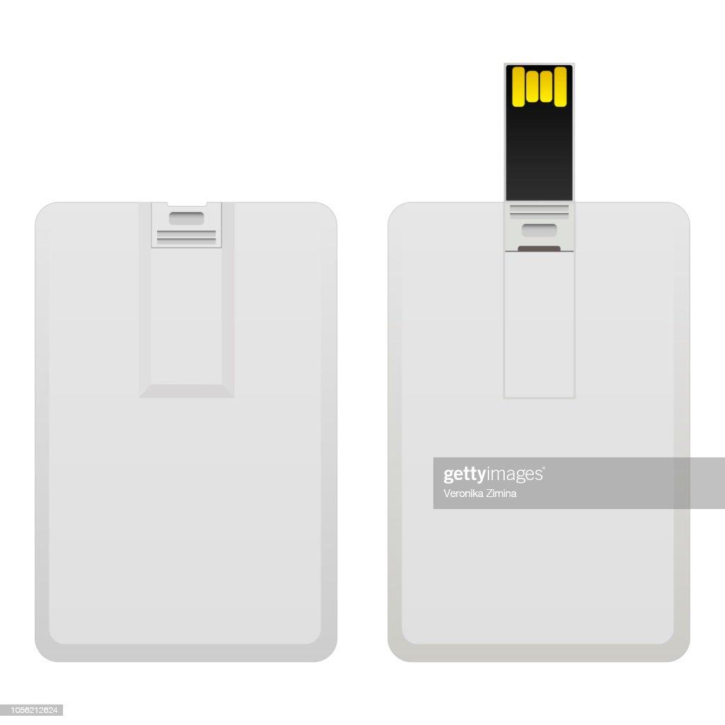 Blank wafer usb flash card mock up isolated on white background