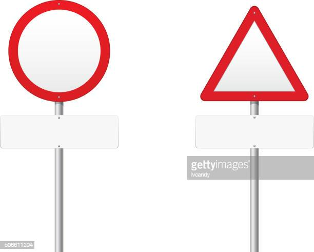 blank warning road sign - road sign stock illustrations, clip art, cartoons, & icons
