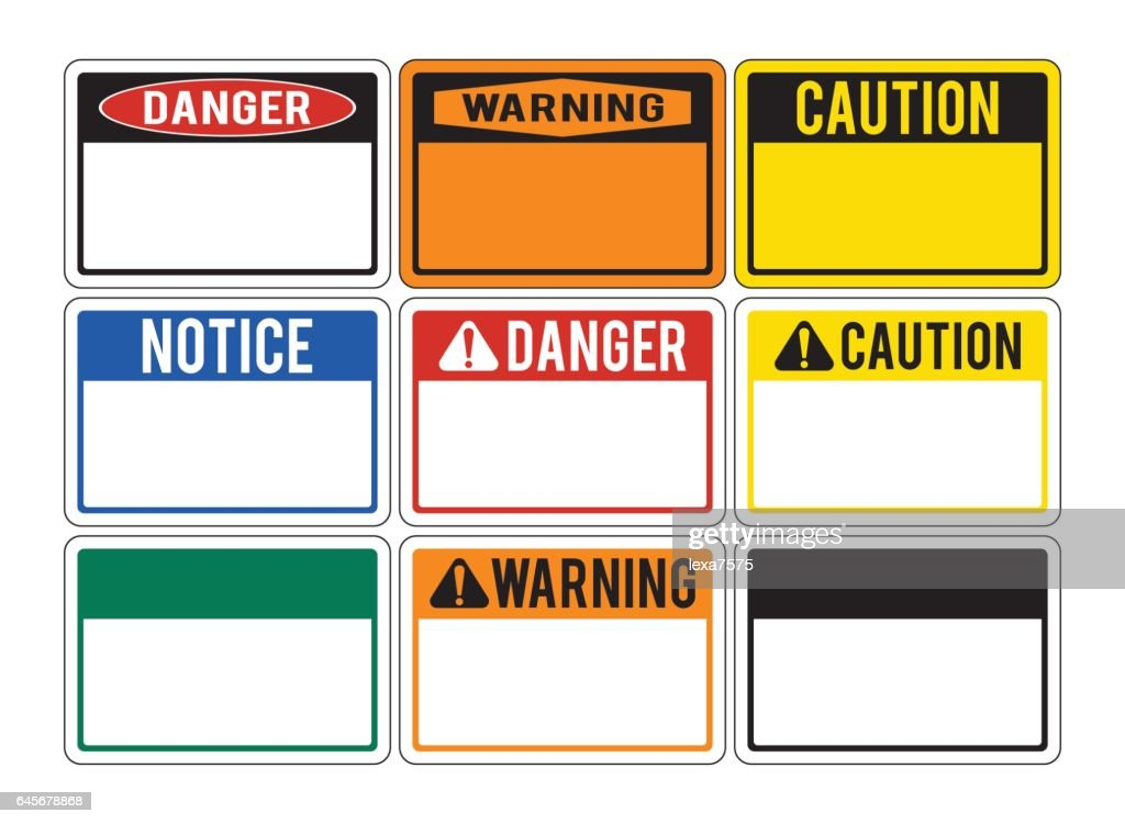 Blank warning signs. Set of warning signs about the dangers. Danger.