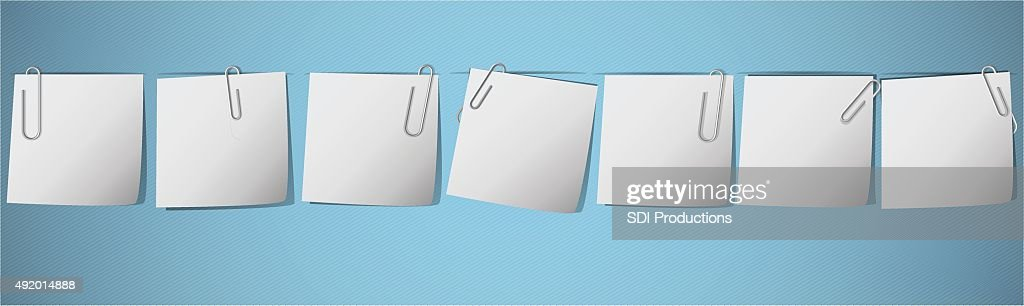Blank Weekly Notes with paperclips