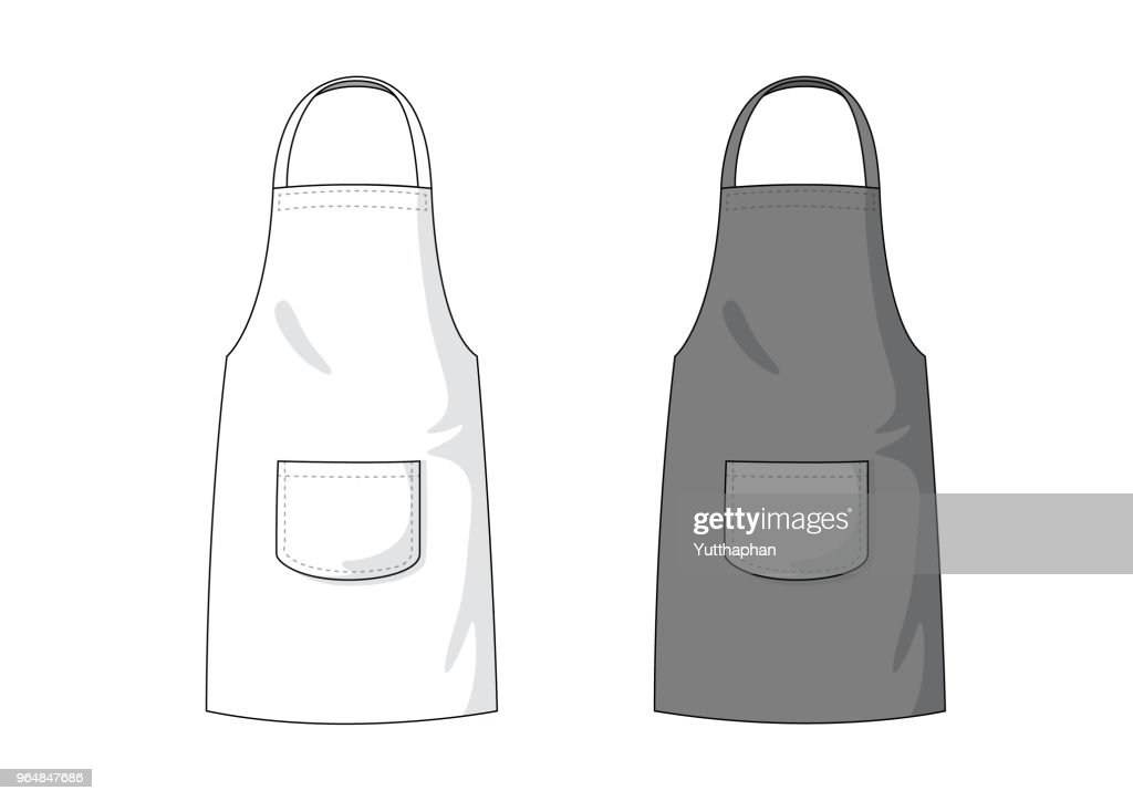 Blank white and black Apron template.
