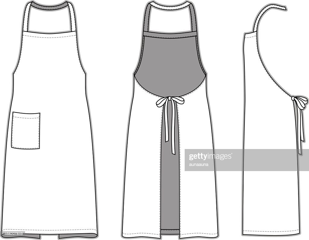 Blank white apron template from three angles