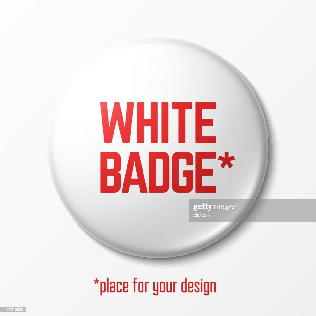 Blank white badge