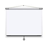 Blank white board, meeting projector screen, presentation display vector illustration