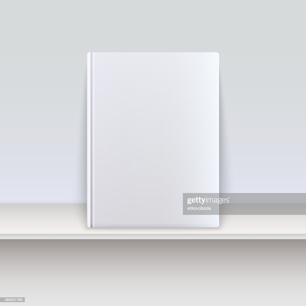 A blank white book cover on a shelf
