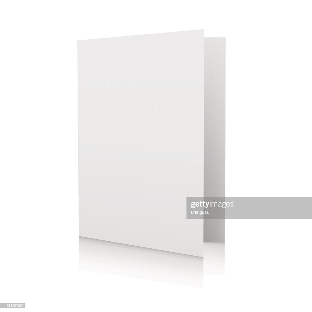 Blank white card standing up on a white background