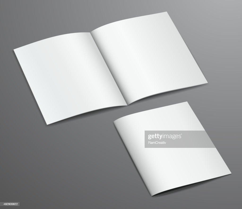 Blank white closed and open brochure magazine, isolated on dark