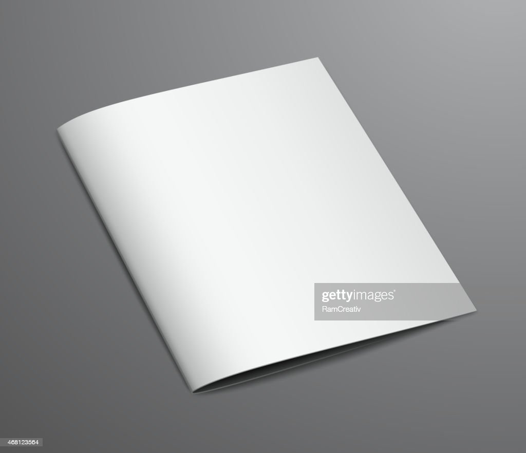 Blank White Closed Brochure Magazine, Isolated on Dark Backgroun