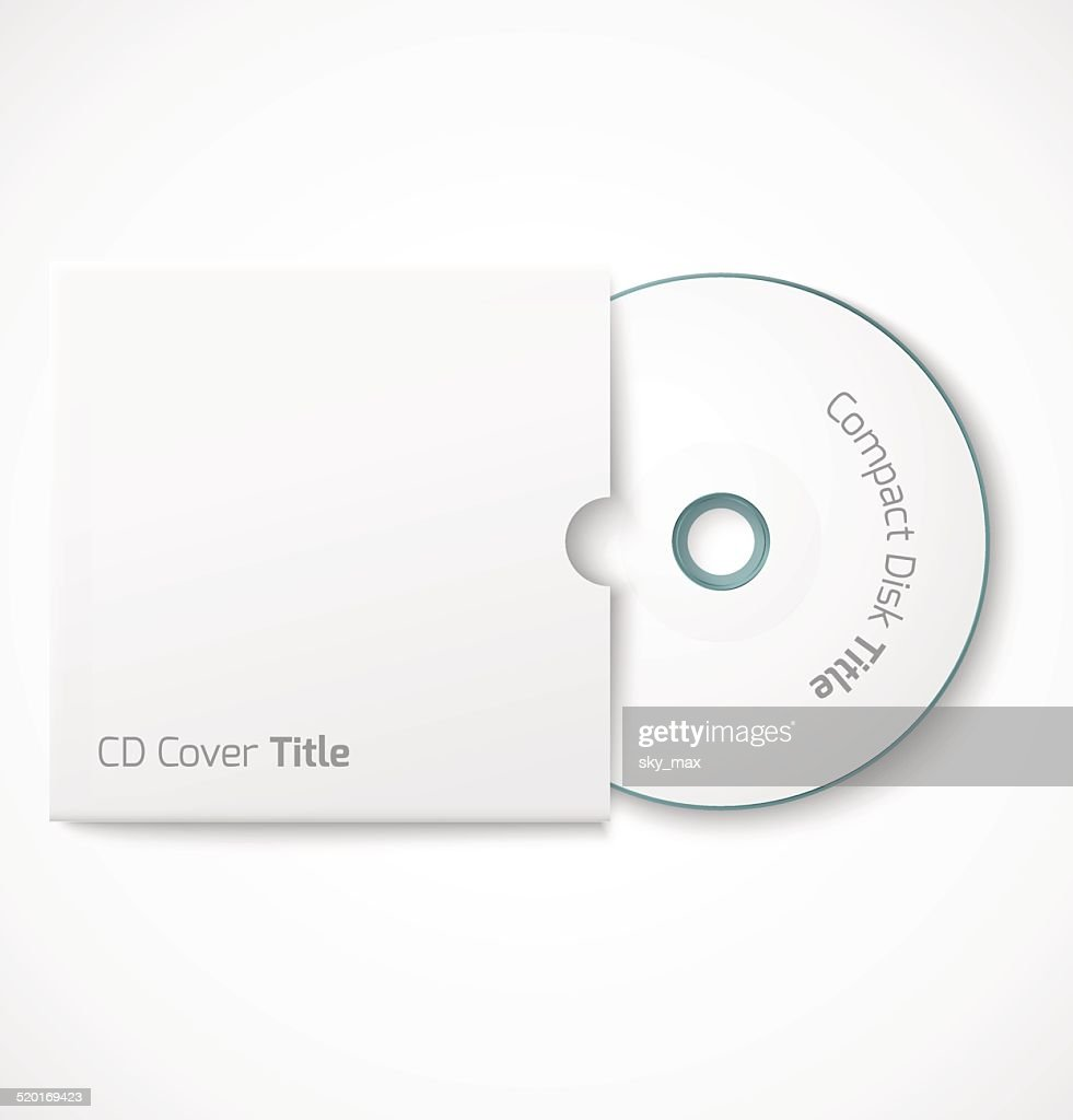 Blank white compact disk with cover mock up template.