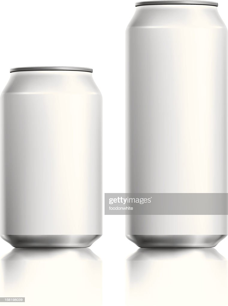 Blank white drinks can vector visual.