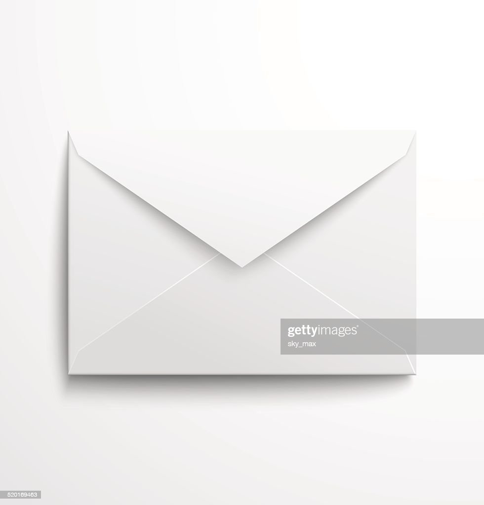 Blank white envelope with shadow