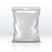 Blank white foil package isolated. Plastic powder packet realistic vector illustration