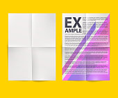 Blank white folded paper sheet. Vector A4 format document mockup