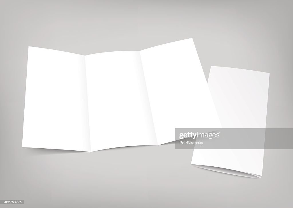 Blank white folding paper flyer on gray background