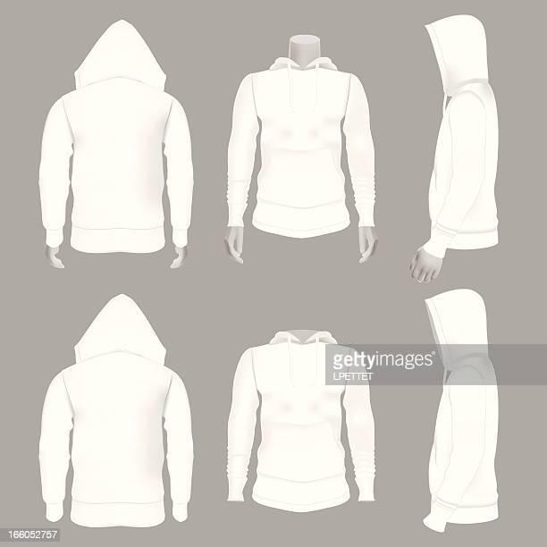 ilustrações de stock, clip art, desenhos animados e ícones de em branco branco casaco com capuz, perfeito para simulação ups - casaco com capuz