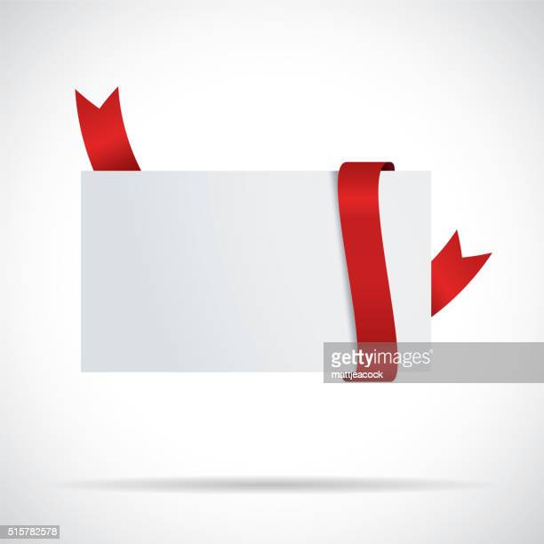 blank white label with red ribbon - coupon stock illustrations