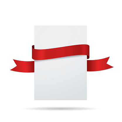 Blank white label with red ribbon - gettyimageskorea