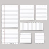 Blank white paper, note paper isolated on background.