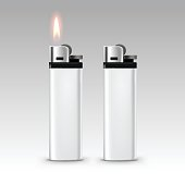 Blank White Plastic Lighters with Flame Isolated