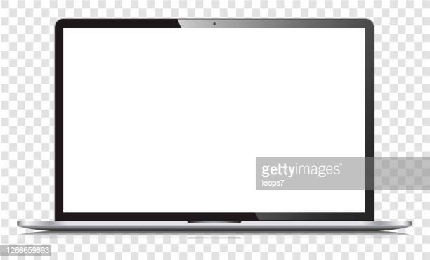 illustrazioni stock, clip art, cartoni animati e icone di tendenza di laptop a schermo bianco vuoto isolato - computer portatile