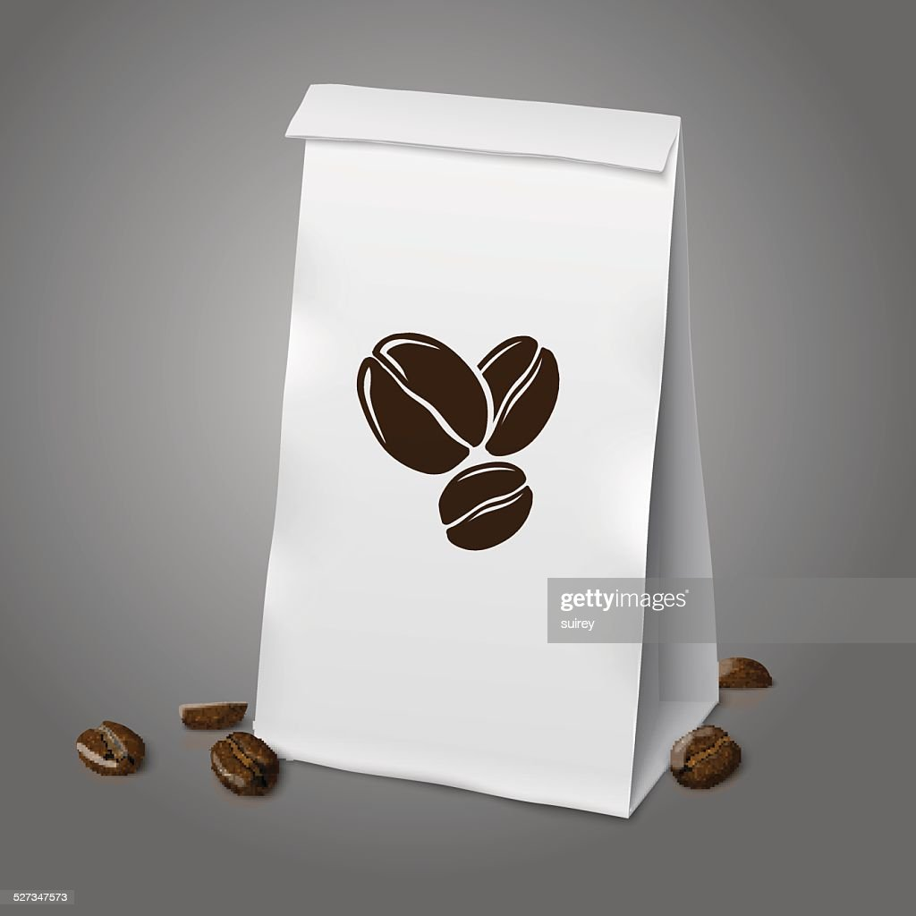 Blank white vector realistic paper packaging coffee bag with beans.